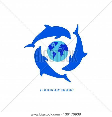 Vector Blue Dolphins Silhouettes around Earth over white. Elements for oceanarium aquarium logo and other your eco designs. Dolphin Icon.