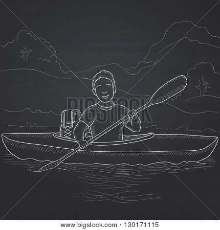 Man canoeing on the river.