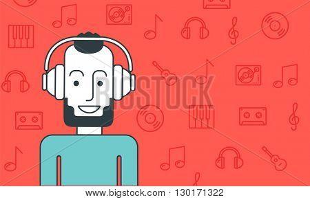 Man listening to music.