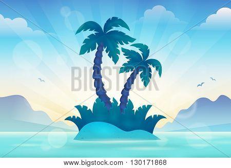 Sunset seascape theme 2 - eps10 vector illustration.
