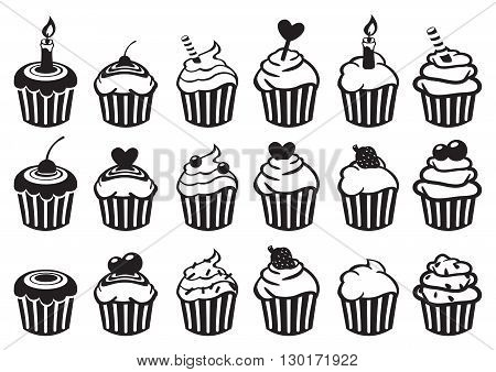 Set of eighteen variety of cupcake vector illustration in black and white isolated on white background.