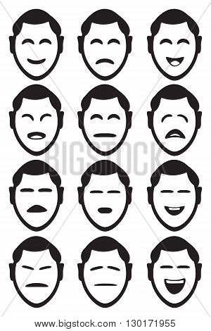 Male cartoon character facial expressions with different shapes of eyes and mouths to depict various feelings and emotions. Set of twelve vector icons isolated on white background.