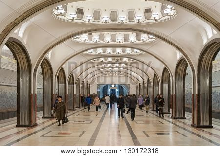 MOSCOW - OCTOBER 8: Mayakovskaya subway station on October 8 2015 in Moscow. The station was built as part of the second stage of the Moscow Metro expansion opening on 11 September 1938.