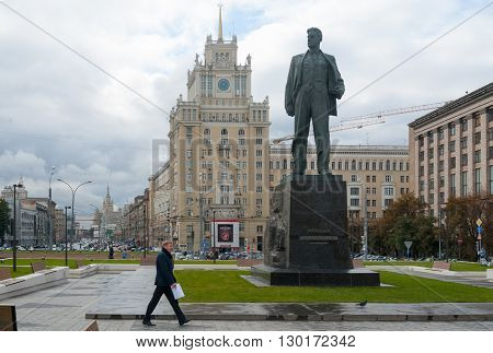 MOSCOW - OCTOBER 8: Monument to Vladimir Mayakovsky poet and Pekin hotel building on Triumfalnaya Square on October 8 2015 in Moscow.