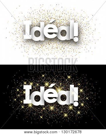 Perfect paper banner with shining sand, French. Vector illustration.