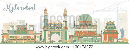 Abstract Hyderabad Skyline with Color Landmarks. Business Travel and Tourism Concept with Historic Buildings. Image for Presentation Banner Placard and Web Site.
