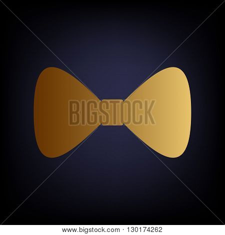 Bow Tie icon. Golden style icon on dark blue background.