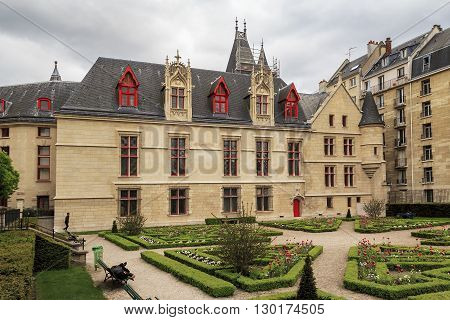 Paris, France - May 13: Hotel de Sens is a small urban palace with architectural elements of a castle or fortress which combines Gothic and Renaissance styles May 13, 2013 in Paris, France.