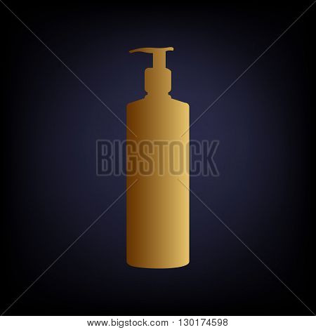 Gel, Foam Or Liquid Soap Dispenser Pump Plastic Bottle silhouette. Golden style icon on dark blue background.