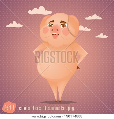 Funny cartoon standing pig.Animal character. Vector illustration