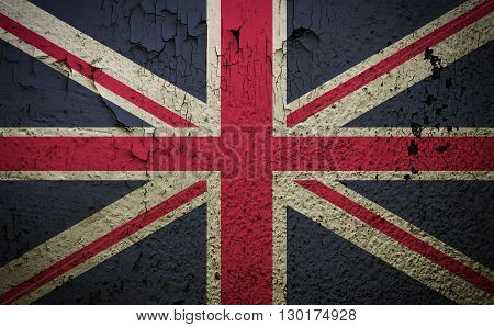 Great britain flag on old grunge wall background retro effect image