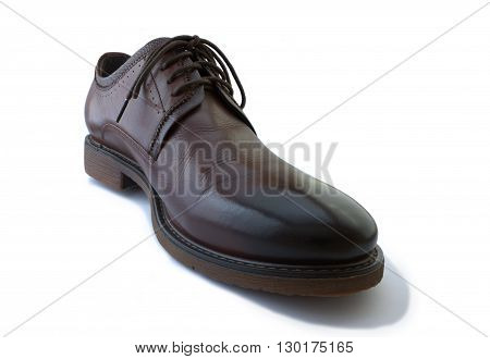 Leather footwear is insulated on white background