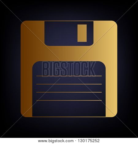 Floppy disk sign. Golden style icon on dark blue background.