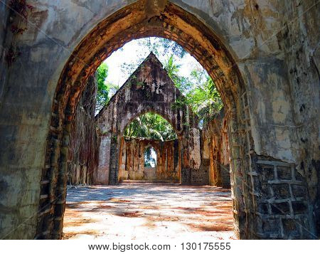 Ruin of an abandoned church on Ross Island, Andaman and Nicobar Islands, India, Asia.