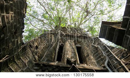 Low angle view of an abandoned church with vegetation growth, Ross Island, Port Blair, Andaman and Nicobar Islands, India, Asia.