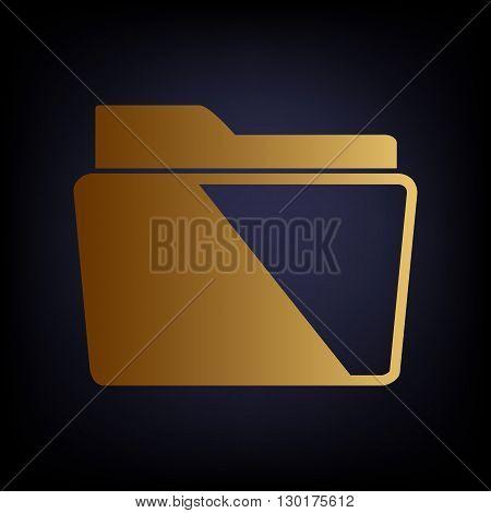Folder sign. Golden style icon on dark blue background.