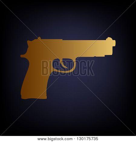 Gun sign. Golden style icon on dark blue background.