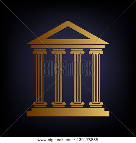 Historical building. Golden style icon on dark blue background.