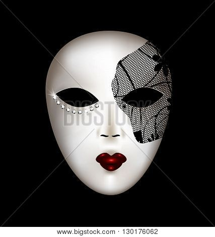 dark background and the large white-black carnival mask
