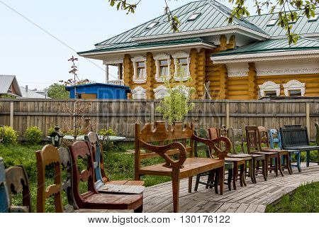 Vologda, Russia - May 24: It is collection od chairs in museum of folk art