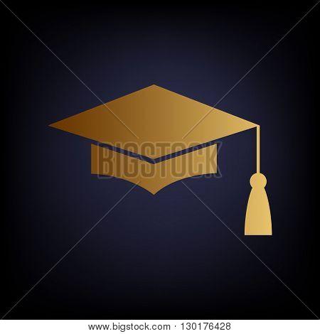 Mortar Board or Graduation Cap, Education symbol. Golden style icon on dark blue background.