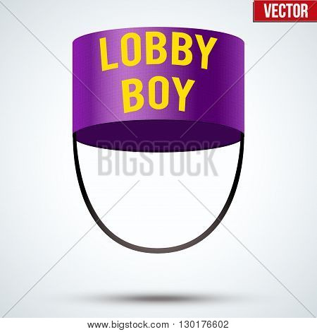 Lobby boy Hat. Hotel resort service symbol. Vector Illustration isolated on a white background.