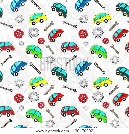 Kids cars pattern with tools, white background.
