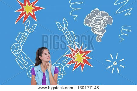 Pretty brunette thinking with finger on chin against digital drawing of mechanics