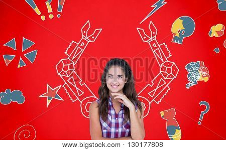 Thoughtful pretty brunette with fingers on chin against digital drawing of mechanics