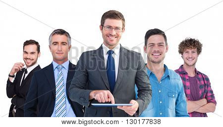 Composite image of businessman using his tablet pc