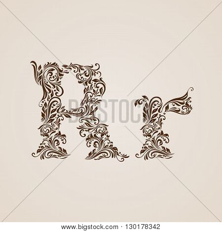 Handsomely decorated letter r in upper and lower case.