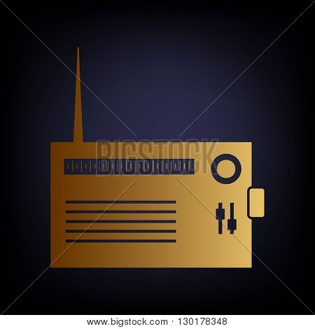 Radio sign. Golden style icon on dark blue background.