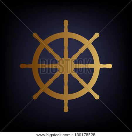 Ship wheel sign. Golden style icon on dark blue background.