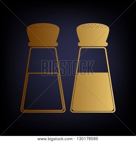 Salt and pepper sign. Golden style icon on dark blue background.