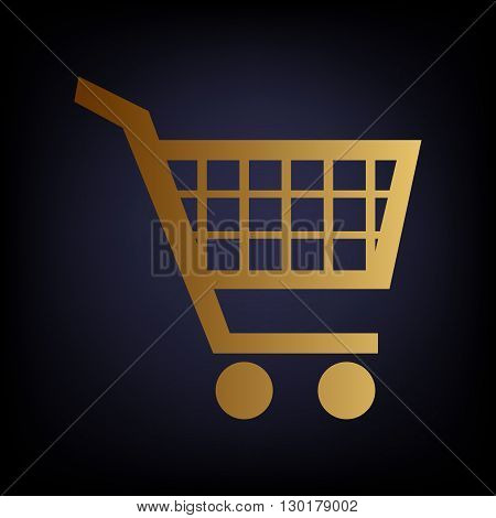 Shopping cart sign. Golden style icon on dark blue background.