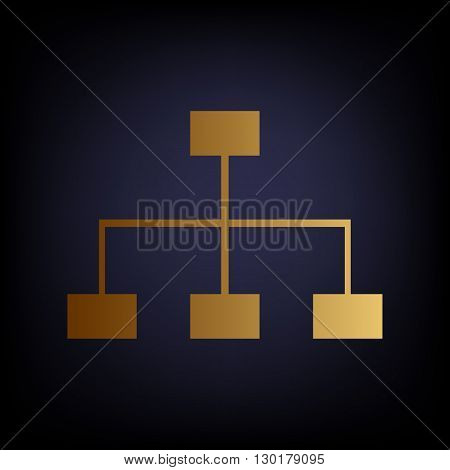 Site map sign. Golden style icon on dark blue background.