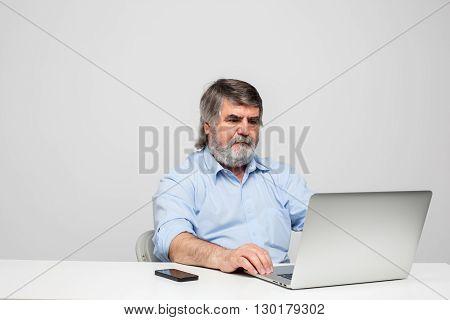 Old Men Using Laptop