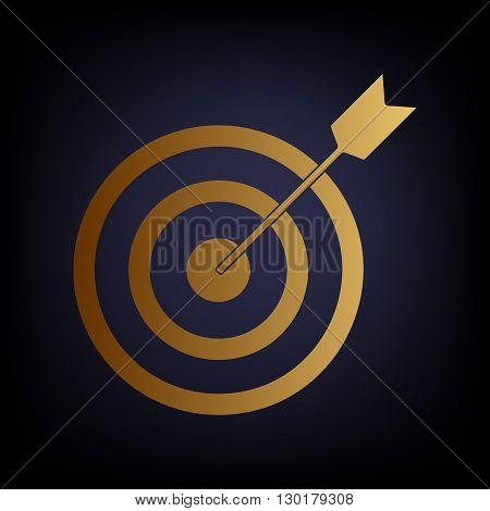 Target with dart. Golden style icon on dark blue background.