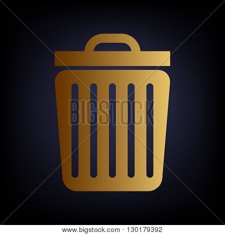 Trash sign. Golden style icon on dark blue background.