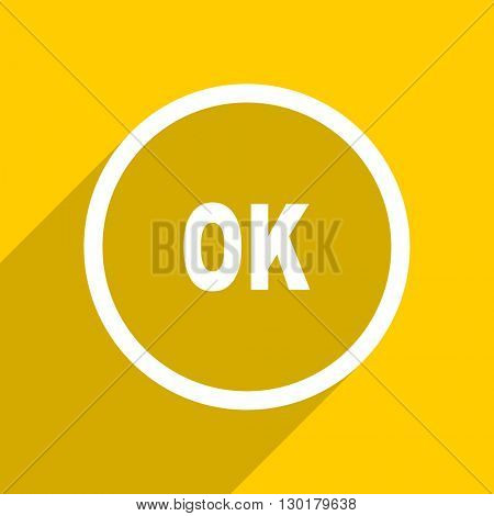 yellow flat design ok web modern icon for mobile app and internet