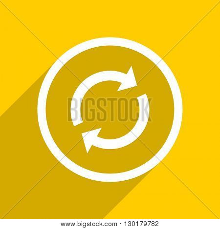 yellow flat design reload web modern icon for mobile app and internet