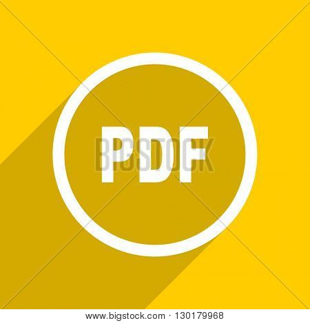 yellow flat design pdf web modern icon for mobile app and internet
