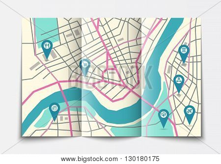 Vector flat paper city map lying open, top view, brochure with map