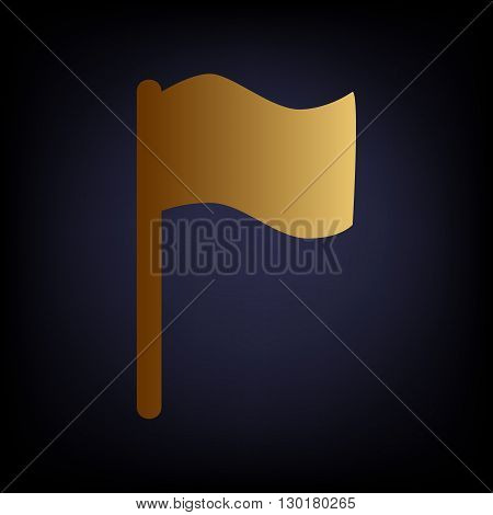Flag sign. Golden style icon on dark blue background.