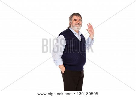 Old Man Isolated On White
