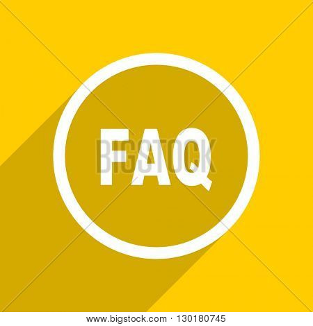 yellow flat design faq web modern icon for mobile app and internet