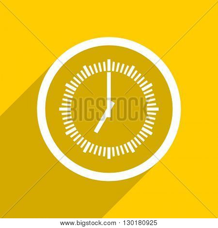yellow flat design time web modern icon for mobile app and internet