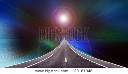 Long road up to high with lens flare light on colourful spectrum and dark background