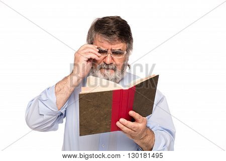 Old Man With Glasses Reading A Book