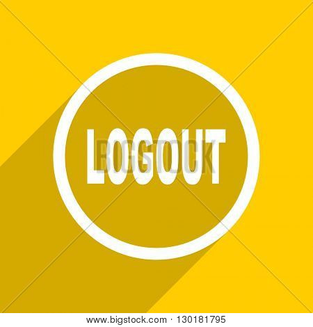 yellow flat design logout web modern icon for mobile app and internet